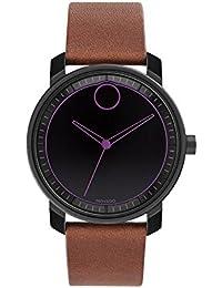 Movado Men's Bold 41mm Leather Band IP Steel Case Swiss Quartz Watch 3600488