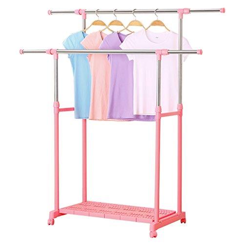 Wäscheständer, doppelpolige Garderobe, Garderobenbügel für den Innen- und Außenbereich, Mehrzweckgestelle ( Farbe : Pink )