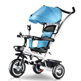 DBSCD Trikes for Toddlers, Poussette de Voyage pour Tricycle 4 en 1 pour Enfants, Tricycle pour bébé avec poignée-Poussoir/auvent réglable, de 1 à 5 Ans (Couleur: Bleu)
