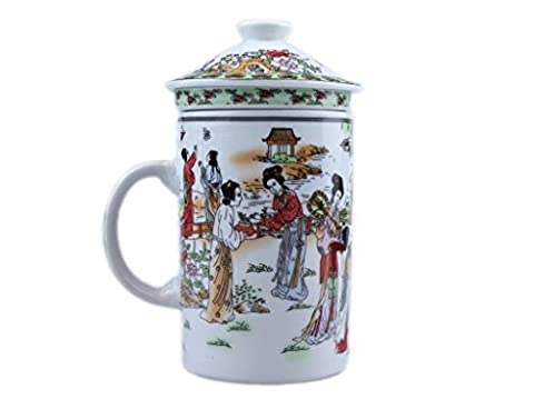Chinese 3 Piece Mug with infuser. [12 Beauties] CZ