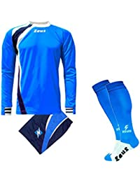 Zeus Completino Kit Calcio Spagna COMPRESO di Calza Calcetto Allenamento ( Royal-Blu-Bianco 94dd530accf3