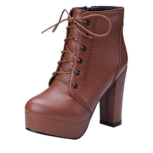 UH Femmes Chaussures avec Zip et Lacet Bottines à Cheville Rétro Simple Talons Haute Bloc Confortables avec Plateforme et Fourrure en Mode Chaud Marron