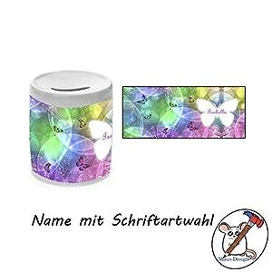 Spardose mit Name und Schmetterlings Motiv/Sparbüchse/Geldbüchse/Sparschwein/Geschenkidee/Taufgeschenk/Einschulungsgeschenk/Geburtstagsgeschenk/mit Namen
