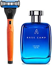 Ustraa Cologne - Base Camp For Men (100ml) and Ustraa Gear - 5 Blade Razor with Contoured Rubber Handle and Blades (Orange)