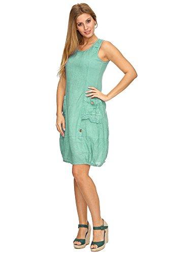Zarlena Damen Sommerkleid Leinenkleid Spitzenapplikationen ärmellos Petrol