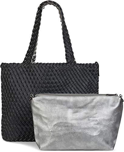 styleBREAKER XXL Wendetasche in Flecht-Optik, Shopper Tasche, 2 Taschen, Handtaschen Set, Bag in Bag, Schultertasche, Damen 02012163, Farbe:Schwarz/Silber -