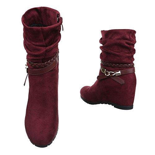 Damen Schuhe Keilabsatz Klassischer Stiefel Reißverschluss High Heel Stiefel Stiefel Keilabsatz/ Wedge Weinrot