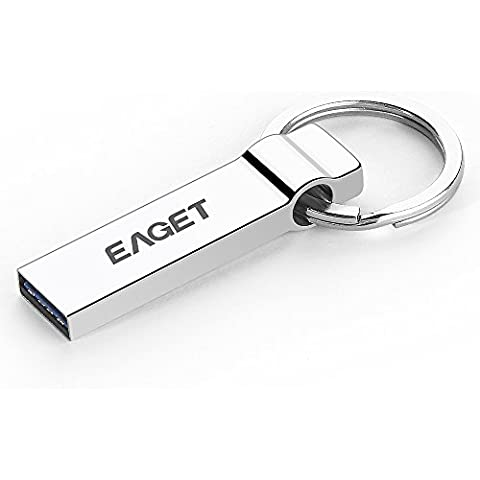 Unidad flash de alta velocidad USB 3.0 de acero inoxidable con diseño de llavero SturdiKey EAGET U90 de (32GB)