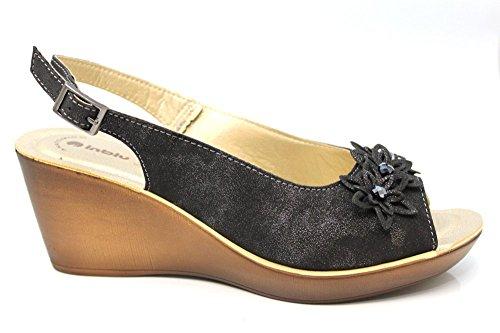Inblu Peeptoe, aperte in punta con zeppa da donna, estivi, taglia 2 agli 8 anni Nero (nero)