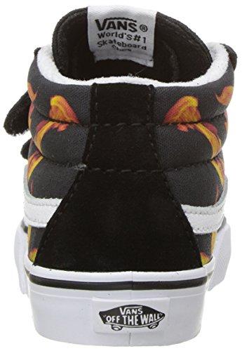 e6c1dd75f6 Vans Toddlers Sk8-Mid Reissue V (Digi Flame) Black True White Skate ...