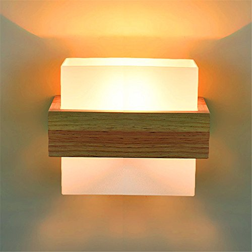 LIYAN minimalistische Wandleuchte Wandleuchte E26 /E27 6051 Neue chinesische, die Zimmer sind mit hellen Holzmöbeln Wandleuchte eiche Kopfteil aus Holz (17E4) -