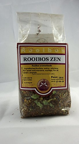 Te Zen Rooibos in Hebra saboreatéycafé sacchetto 100 g. - L'infusione di cespuglio rosso Sud Africa - Rooibos, fiori d'arancio, valeriana, fiore blu cereali, mele, lavanda, fiori di cereali e il profumo natual - rinfrescante odore e sapore di agrumi - infusione africani - reintegro di sali minerali - infusione Te senza teina - Aiuta il sogno - Ideale per dopo lo sport - adatto a prendere prima di coricarsi - dieta dell'atleta Indispensabile - rooibos