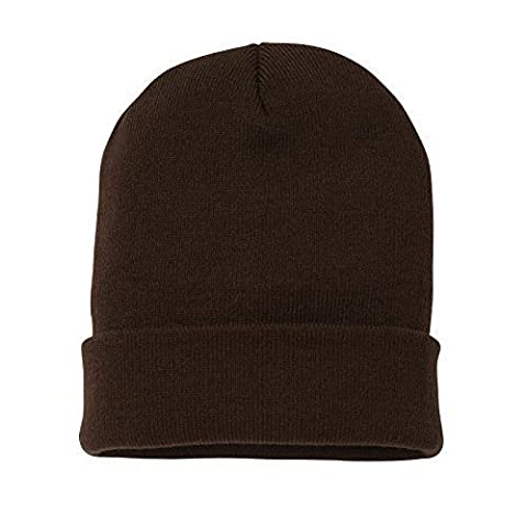 MYOG © KNITTED BEANIE HAT, WARM WINTER WOOLY TURN UP, UNISEX MENS LADIES GIRLS SKI CAP, 40 COLOURS, ONE SIZE (Chocolate)