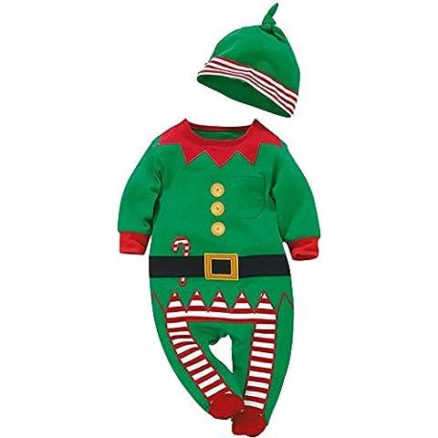 Bebé de Santa Unisex Disfraces Niños de Navidad Conjunto de Manga Larga Romper Outfits