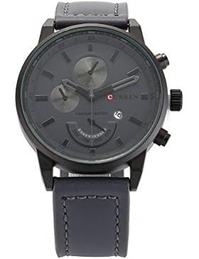 CURREN Herren Sport Wasserdichte Armbanduhr Leder mit Kalender
