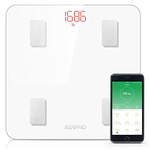 RENPHO Báscula de Baño con Bluetooth, iOS y Android APP - Mide el peso corporal, grasa corporal, agua corporal, músculo esquelético, masa muscular, masa ósea, proteína, IMC, BMR, edad metabólica, colo