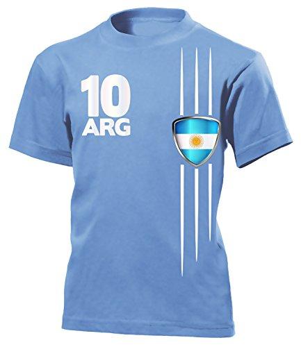 Argentinien Fußball-bälle (Argentinien Fanshirt 3305 Kinder T-Shirt (K-HB) Gr.140)