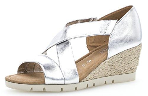 Gabor Damenschuhe 82.853.10 Damen Sandaletten, Sandalen, Sommerschuhe, Strandschuhe, Mehr Raum Dank Comfort-Mehrweite Silber (Silber (Jute)), UK 8