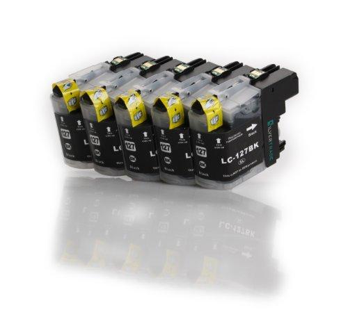Preisvergleich Produktbild Multipack - 5x schwarz Druckerpatronen (LC-127 BK) kompatibel zu BROTHER mit CHIP für Brother MFC-J4110 DW MFC-J4410 DW MFC-J4510 DW MFC-J4610 DW MFC-J4710 DW