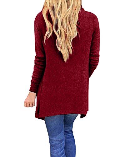 StyleDome Damen Langarm Dünne Quasten Asymmetrisch Jumper Sweatshirt Pullover StrickJacken Weinrot