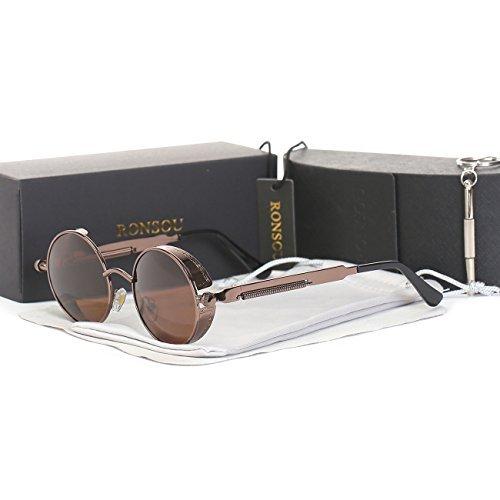 RONSOU Steampunk Stil Rund Vintage Polarisiert Sonnenbrillen Retro Brillen UV400 Schutz Metall Rahmen braun rahmen/braun linse