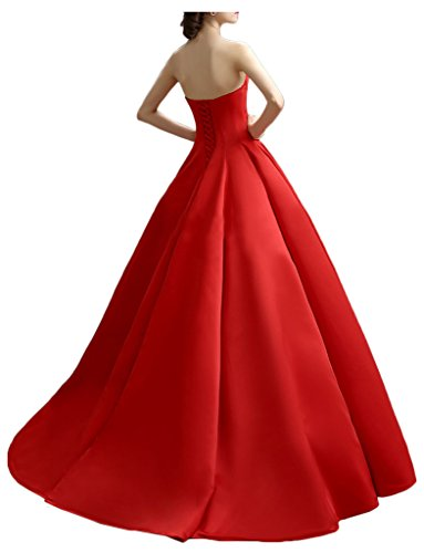 Gorgeous Bride Elegant Traegerlos A-Linie Satin Lang Ballkleid Prom Kleid Abendmode Lila
