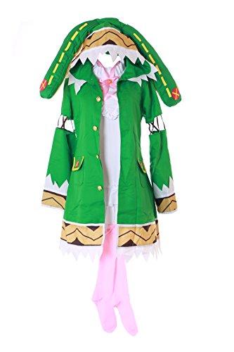 Cosplay Live Kostüm A Date Yoshino - Kawaii-Story MN-42 Date A Live Yoshino Grün Kostüm Kleid 3-teilig Set schwarz Faschings Cosplay Anime Manga Verkleidung (XL)