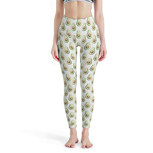 O4EC2-8 Damen Muster Legging Yoga Retro Weiches Leichtes Avocado-Malerei Hose Sport Training Enge Leggings Damen – Frisch und rein