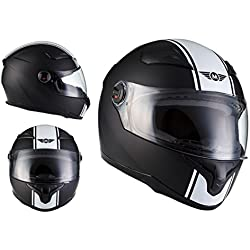 MOTO X86 Racing Matt Black · Sport Scooter Fullface-Helmet Moto motocicleta Urban Casco Integrale Urbano Cruiser · ECE certificado · visera incluido · incluyendo bolsa de casco · Blanco · XXL (63-64cm)