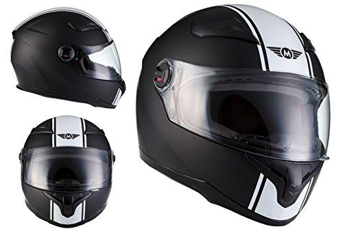 MOTO X86 Racing Matt Black · Urban Helmet Urbano Sport Cruiser Moto Scooter Casco Integrale · ECE certificato · compresi visiera · compresi Sacchetto portacasco · Bianca · M (57-58cm)