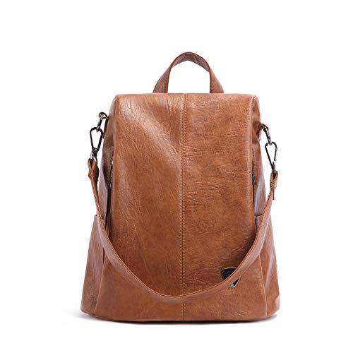 Ldyia Frauen Anti-Diebstahl-Rucksack mit großer Kapazität Lederrucksack Wilde Mode Reisetasche wasserdicht Mummy Tasche Studententasche, braun