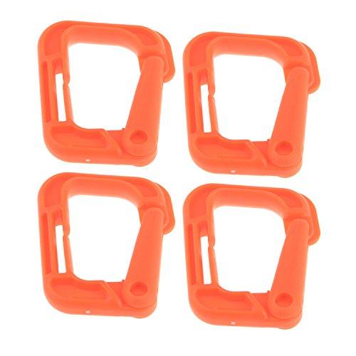 Mehrzweck-D-Ring Grimloc Locking Haken zum Aufhängen Tactical Link Snap Schlüsselanhänger für MOLLE Gurtband 4Stück Orange orange -