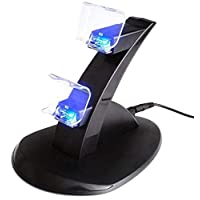 LED Charger Dock Station Dual USB Fast Charging Stand For PS4