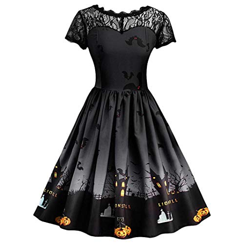 NPRADLA 2018 Damen Kleid Halloween Spitze Kurzarm Vintage Abendkleid
