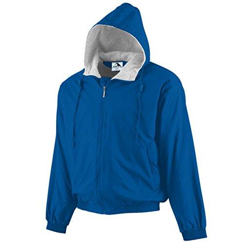 Augusta Sportswear BOYS' HOODED TAFFETA JACKET/FLEECE LINED XS Royal Fleece-lined Hooded Nylon Jacket