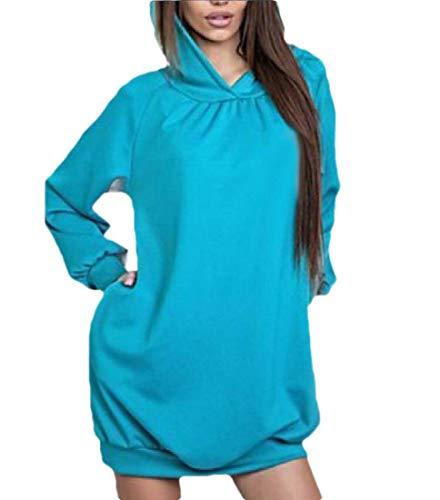 Gocgt Damen Loose Long Sleeve Hoodies Lightweight Casual Lose Pullover Sweatshirt Gr. Large, hellblau Damen Lightweight Hoodie