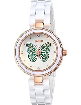 INWET Weiß Keramik Armband Armbanduhr für Damen,3D Schmetterling Zifferblatt,Elegante Kristall Uhr