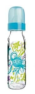 dBb Remond Biberon Floralies, Régul'Air, Tétine Nouveau-Né Silicone - Système Rond - Turquoise Translucide - 240 ml