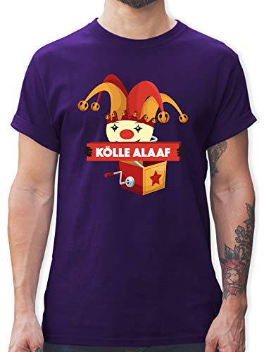 Karneval & Fasching - Kölle Alaaf Jack in The Box - S - Lila - L190 - Herren T-Shirt ()