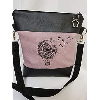 Handtasche Pusteblume Heissluftballon Umhängetasche Pusteblume rosa Kunstleder mit Anhänger Tasche handmade