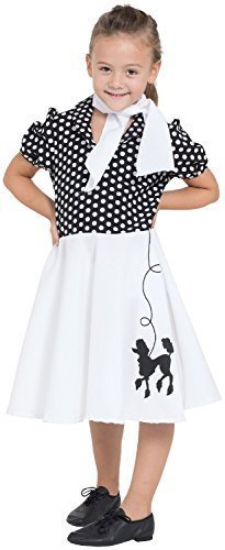 punktet 1950s Jahre 50s Jahre Pudel Rock Bonbon TV Buch Film Retro Vintage Kostüm Kleid Outfit - 4-6 years (Pudel Röcke Kinder)