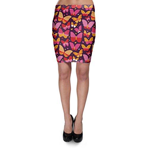 Hot Pink Butterflies Bodycon Skirt - XS Rock