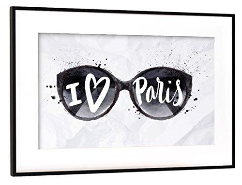 artboxONE Poster mit Rahmen Schwarz (Metallic) 45x30 cm Paris Sun Glasses von Anna Kozlenko - gerahmtes Poster
