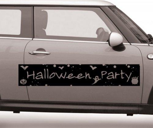 Autoaufkleber Halloween Party Schriftzug Text Geist Sticker Aufkleber Auto 5O053, Farbe:Lindgrün glanz;Breite vom Motiv:140cm