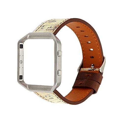 Altsommer Armband 23mm für Fitbit Blaze(150-225MM) Vintag Leder mit Rahmen Zubehör Note,Briefumschlag Armband Muster Serie,Bunt Leder Sportarmband Uhrenarmband für Damen Herren (C)