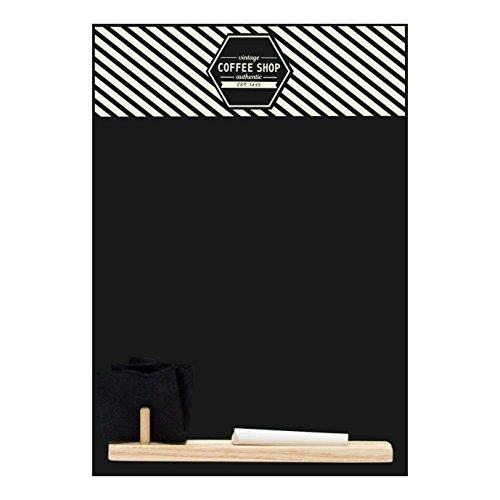 Kreidetafeln UK Vintage Coffee Shop 'Kleine Memo Kreidetafel/Tafel/Küche Board mit Tablett, Kreide und Filz Radiergummi. Booth Design Range, Holz, schwarz, 29,7x 20,7x 1cm -