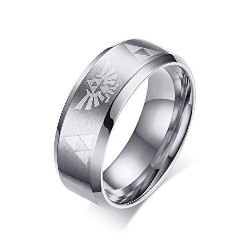 Schmuck Kostüm Marken Moderne - XBYEE 8mm Legend of Zelda Triforce Verlobungsringe für Männer Punk Silber Gold Titan Stahl Hochzeit fit Geschenke Komfort Marken