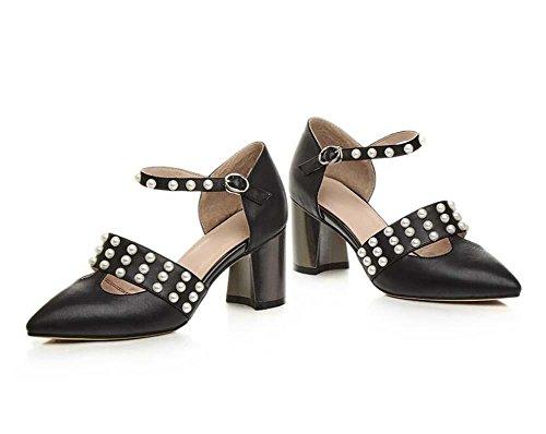 Onfly Fashion Lady Bout Pointu En Peau De Mouton Sandales À Talons Hauts Simple Perle Cordon Cheville Sangle Ceinture Buckel Court Chaussures Noir