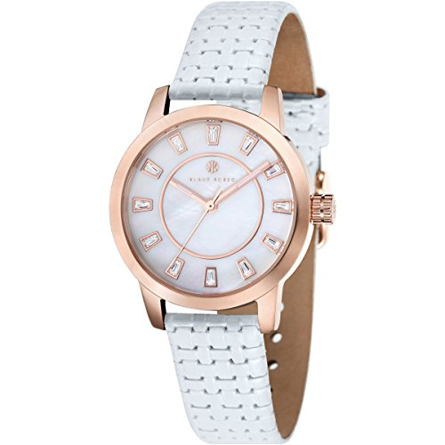 Klaus Kobec KK-10014-02 Ladies Daphne White Calf Knitting Leather Strap Watch