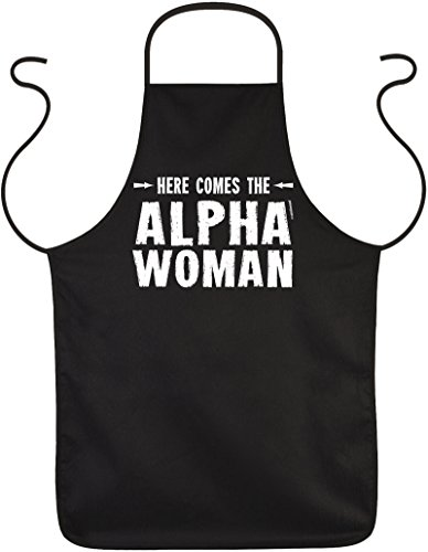Goodman Design ® Fun-Schürze lustige Sprüche Grillschürze/Motiv-Schürze für die Frau: Here comes the ALPHA WOMAN (Alpha-schürze)